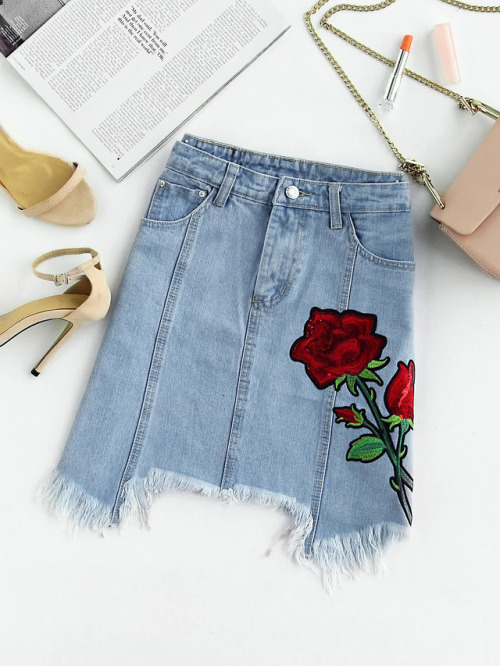fashion trends summer 2017 embroidered denim skirt how to wear outfit ideas melonkiss 6